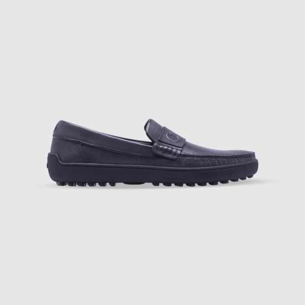 Grey loafer in tumbled calf leather