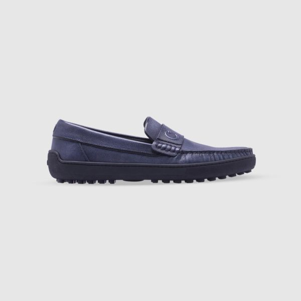 Blue loafer in tumbled calf leather