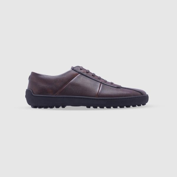 Dark brown sneaker in tumbled calf leather