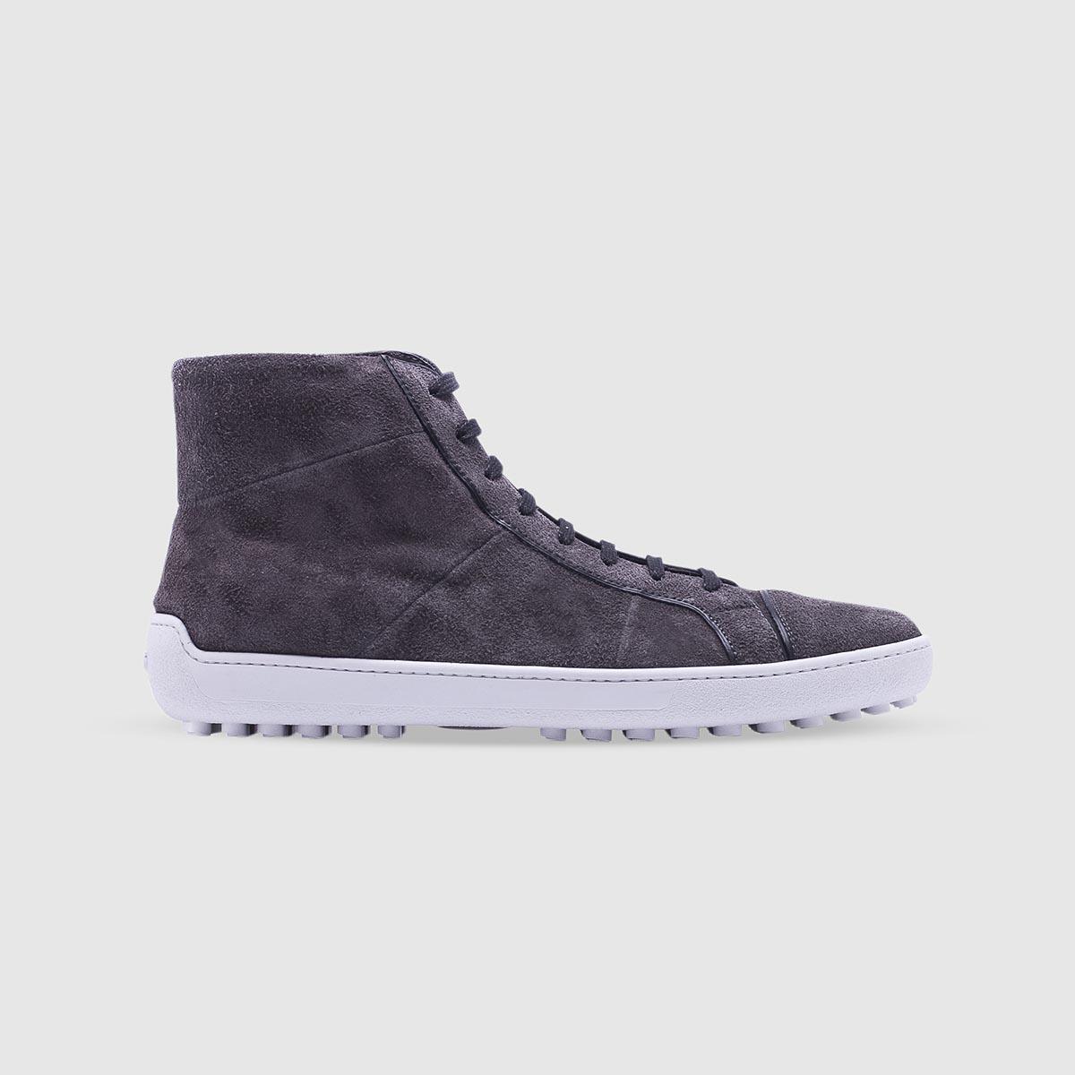 Sneaker lavagna in pelle di vitello scamosciata
