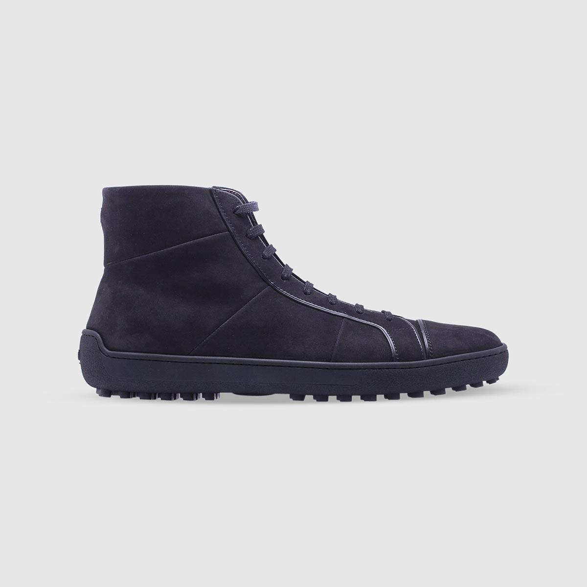 Sneaker nera in pelle di vitello nabuk