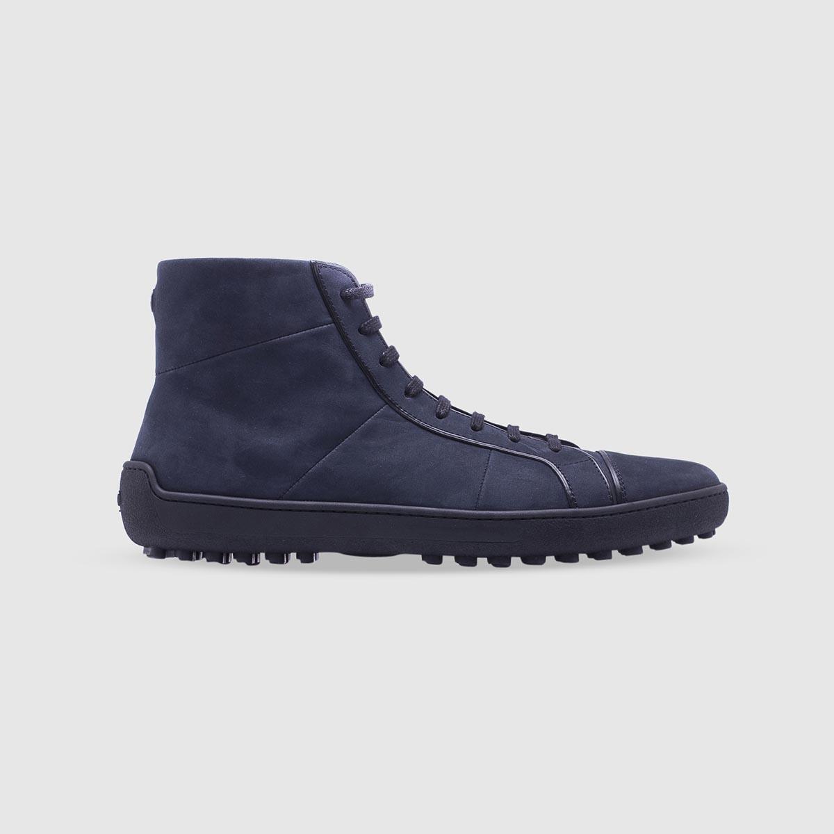 Sneaker blu in pelle di vitello nabuk