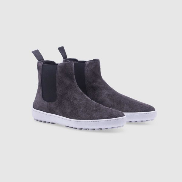 Grey ankle boots in suede