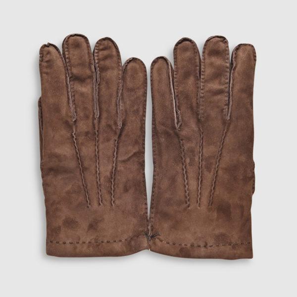 Guanto Omega in lana e pelle Choco scamosciata