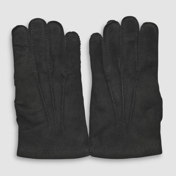 Guanto Omega in lana e pelle Nera scamosciata