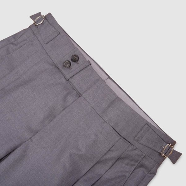 Two Pleats Medium Grey 160s Wool Trousers