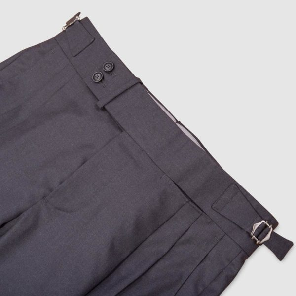 Two Pleats Dark Grey 160s Wool Trousers