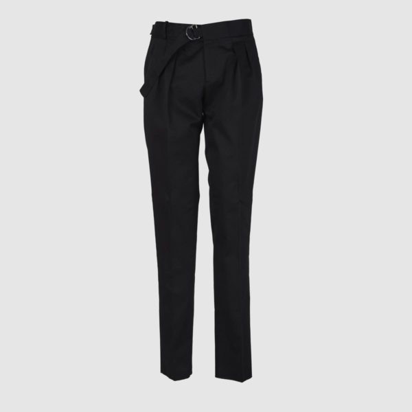 Two Pleats Black Cotton Trousers