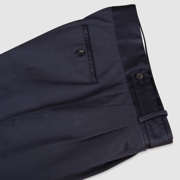 Two Pleats Blue Cotton Trousers