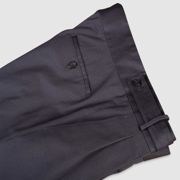 Two Pleats Grey Cotton Trousers