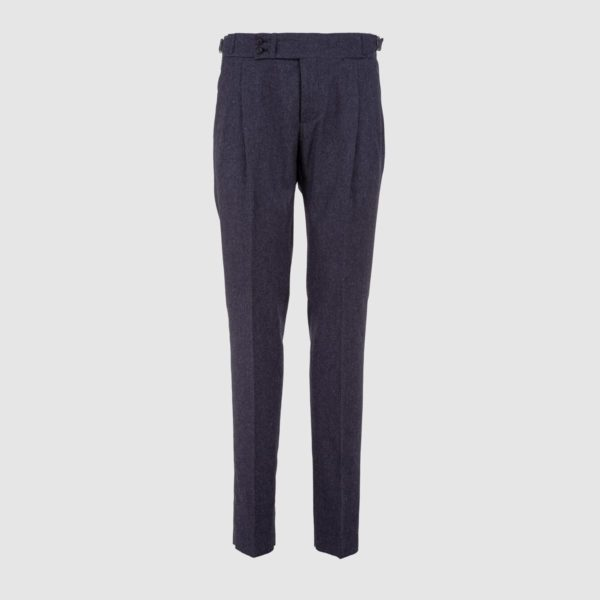 Two Pleat Blue Micro-Pattern Wool Trousers