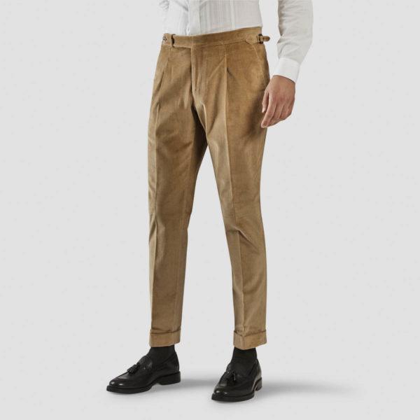 Beige Corduroy One Pleat Trousers