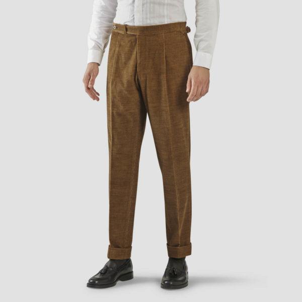 Brick Corduroy One Pleat Trousers
