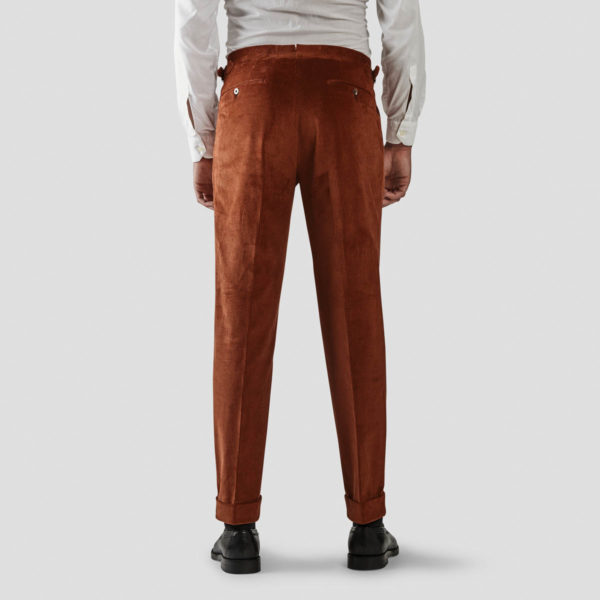 Rust Corduroy One Pleat Trousers