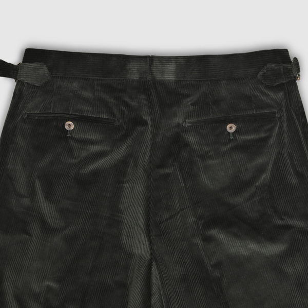 Green Corduroy One Pleat Trousers