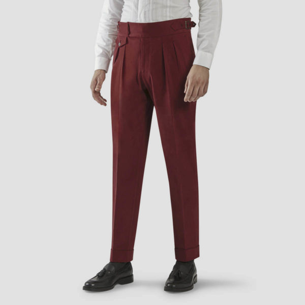 Black Cherry Velvet Two Pleats Trousers