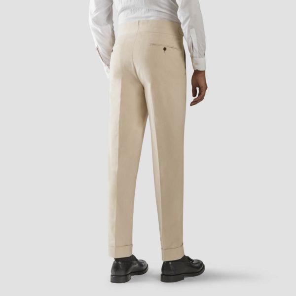 Pantalone 2 Pinces Cotone Beige