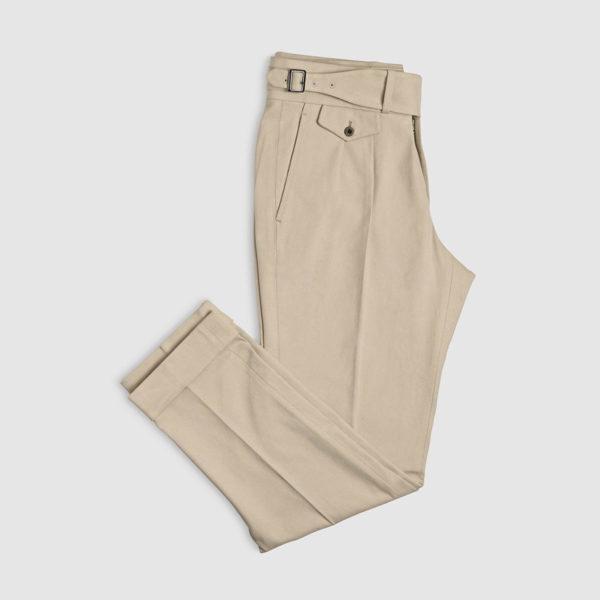 Beige Two Pleats Cotton Trousers