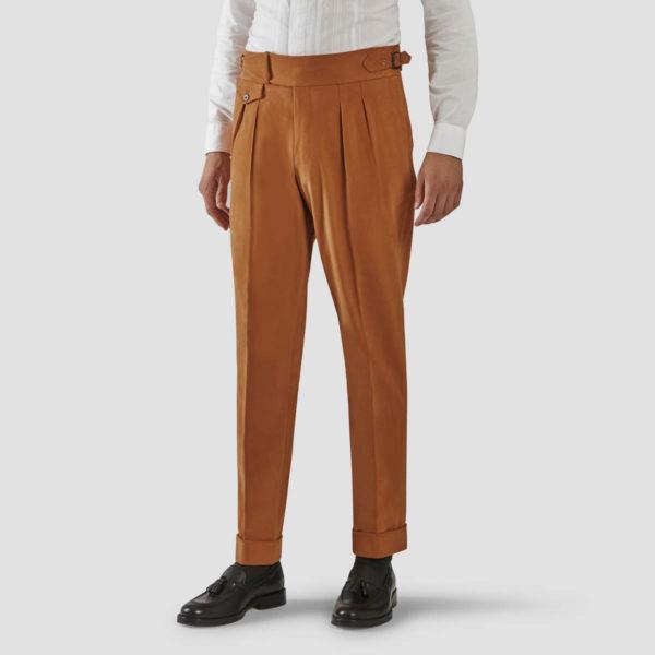 Peach Velvet Two Pleats Trousers