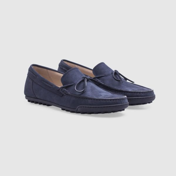 Blue loafer in nubuck with laces