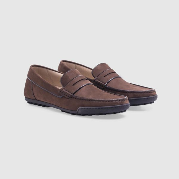 Dark brown loafer in nubuck with penny bar