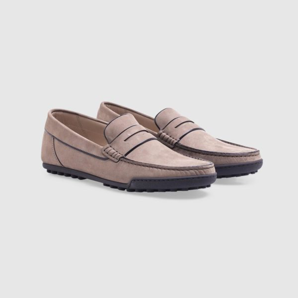 Dove grey loafer in nubuck with penny bar
