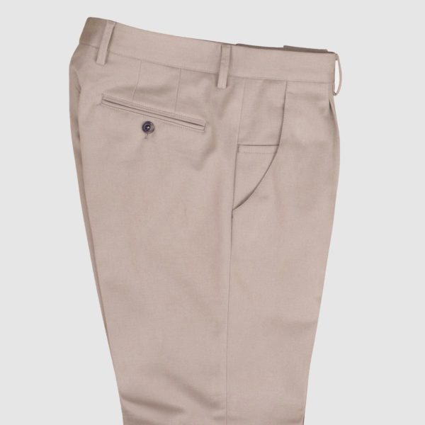 One pleat Beige Cotton Trousers
