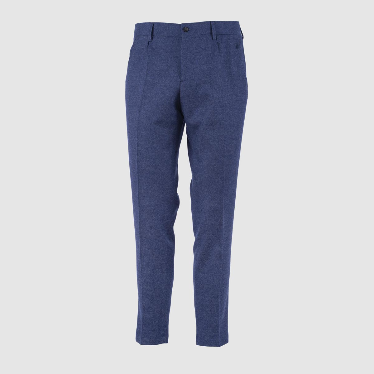 One Pleat Blue Flannel Trousers