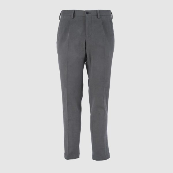 One Pleat Gray Cotton Trousers