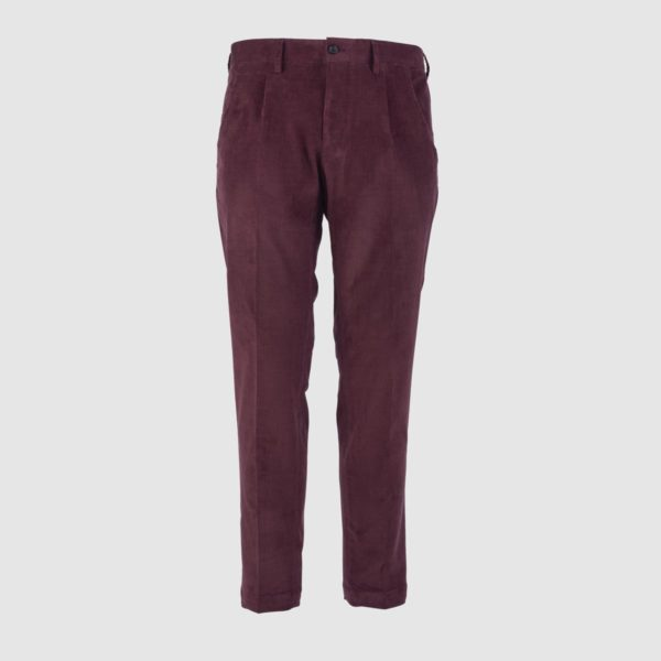 One Pleat Red Velvet Trousers