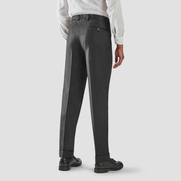 Antracite Wool One Pleat Trousers