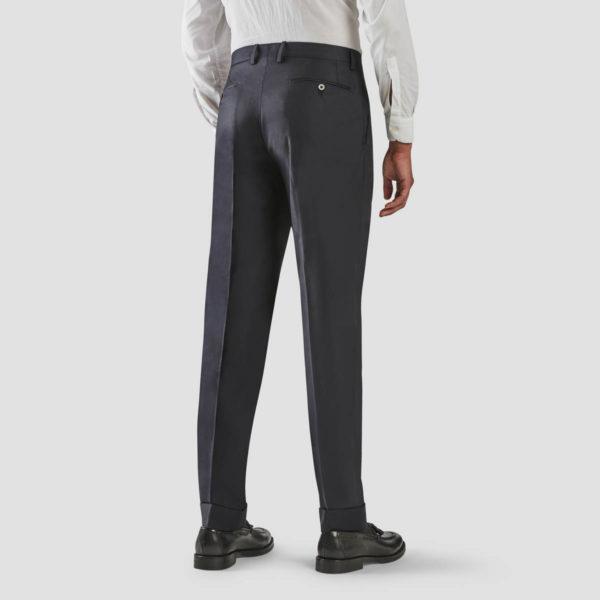 Blue Wool One Pleat Trousers