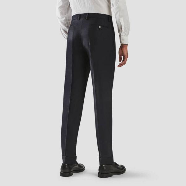 Dark Blue Wool One Pleat Trousers