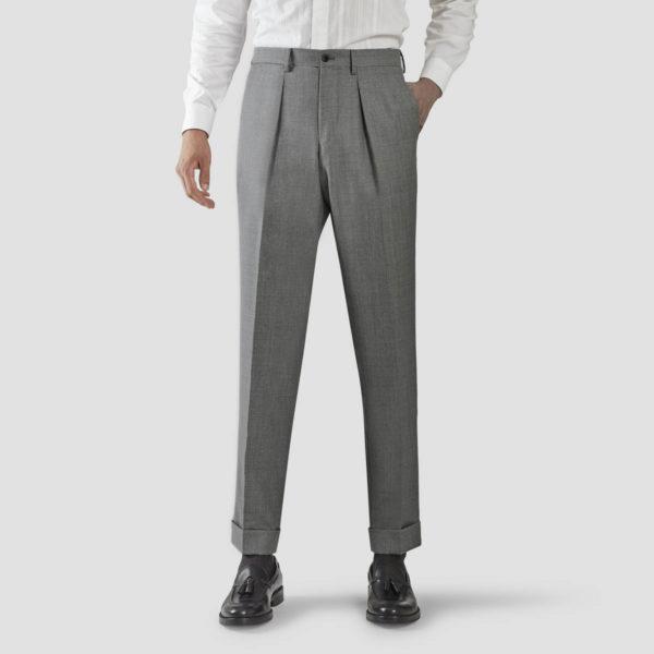 Light Gray Wool One Pleat Trousers