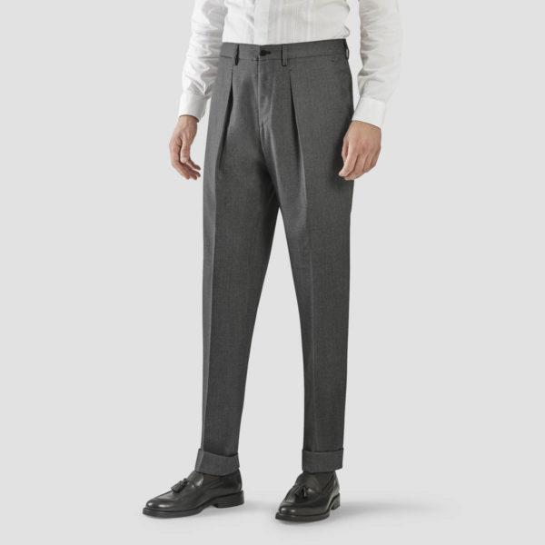 Medium Gray Wool One Pleat Trousers