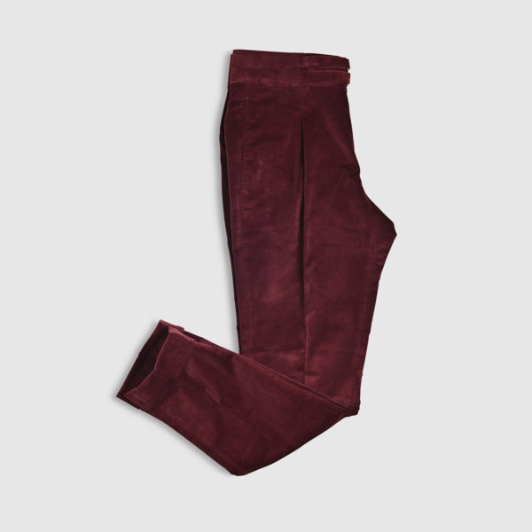 Amaranth Cotton One Pleat Trousers