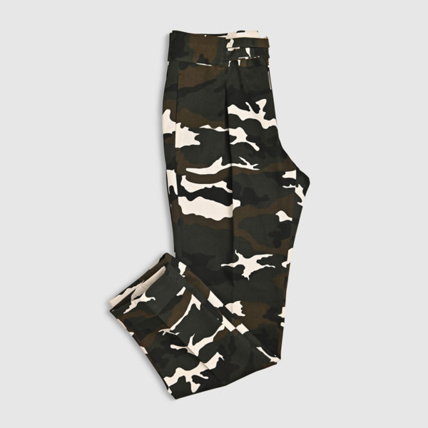 Camouflage One Pleat Cotton Trousers