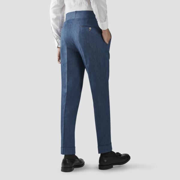 Cotton & Cashmere Denim One Pleat Trousers