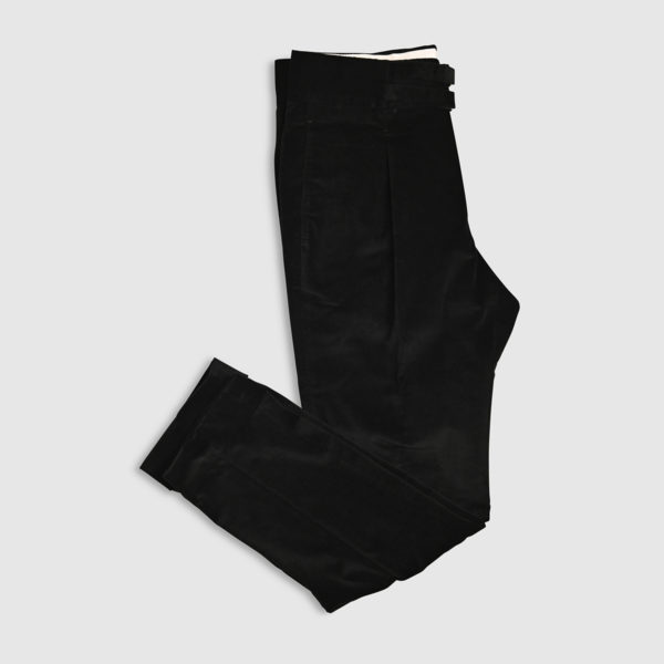 Black Cotton One Pleat Trousers