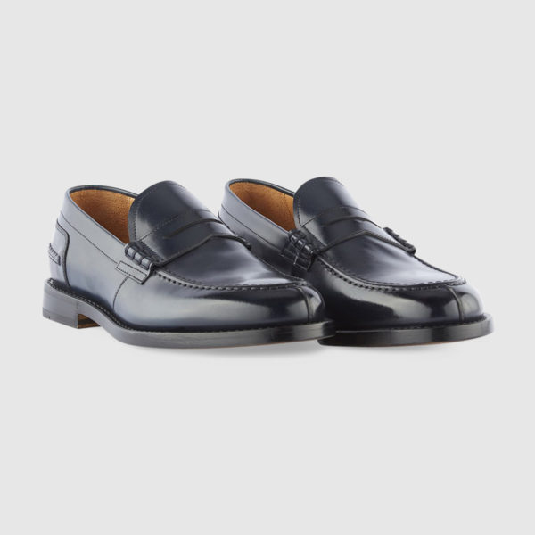 College Loafers in Dark Blue Brushed Calfskin Leather