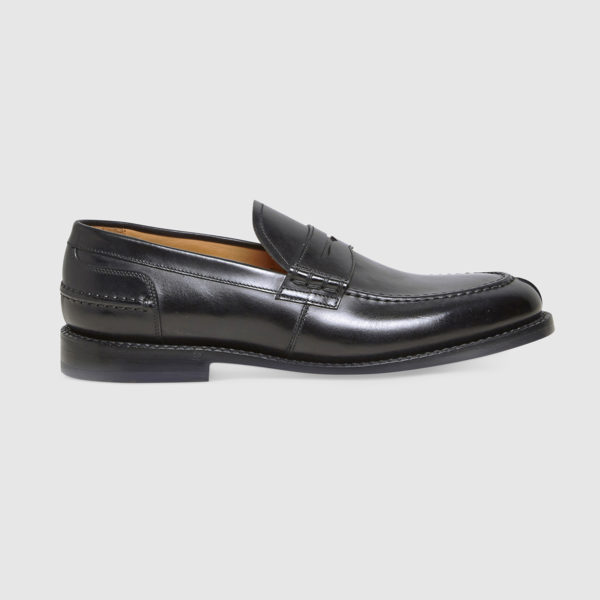 College Loafers in Black Brushed Calfskin Leather