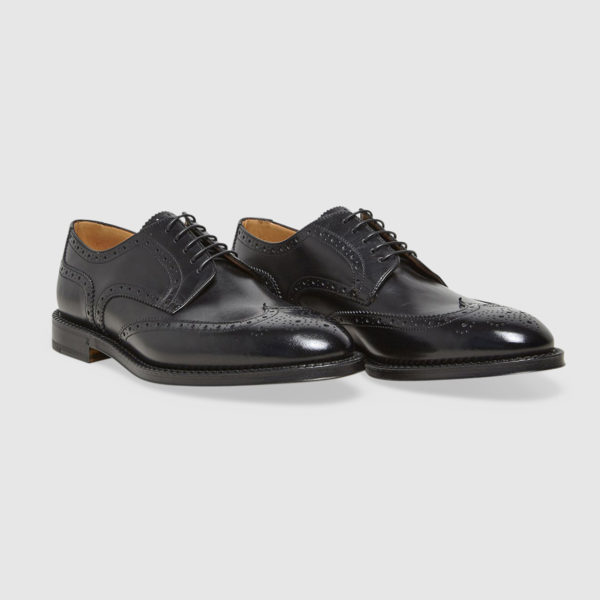 Lace-up Shoes in Black Brogue Calfskin