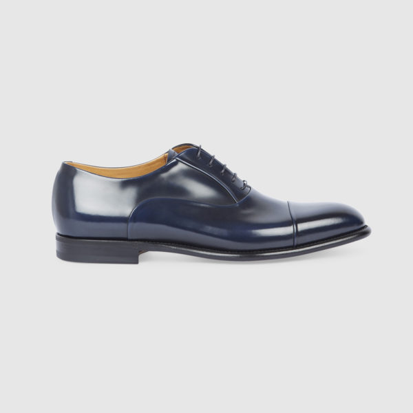 Oxford Shoe in Polished Blue Leather