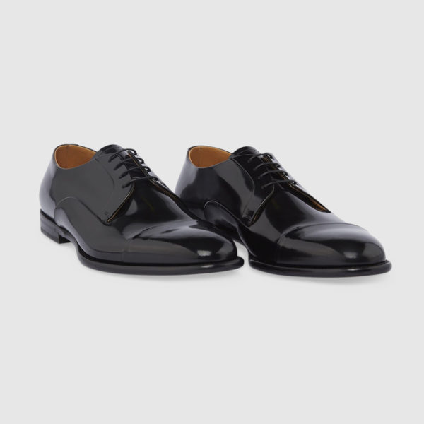 Lace-up Shoe in Polished Black Leather