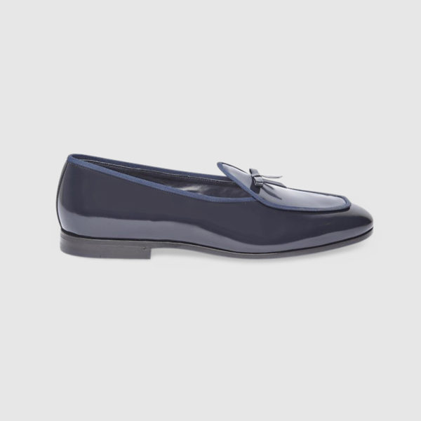 Loafers in Blue Polished Calf Leather