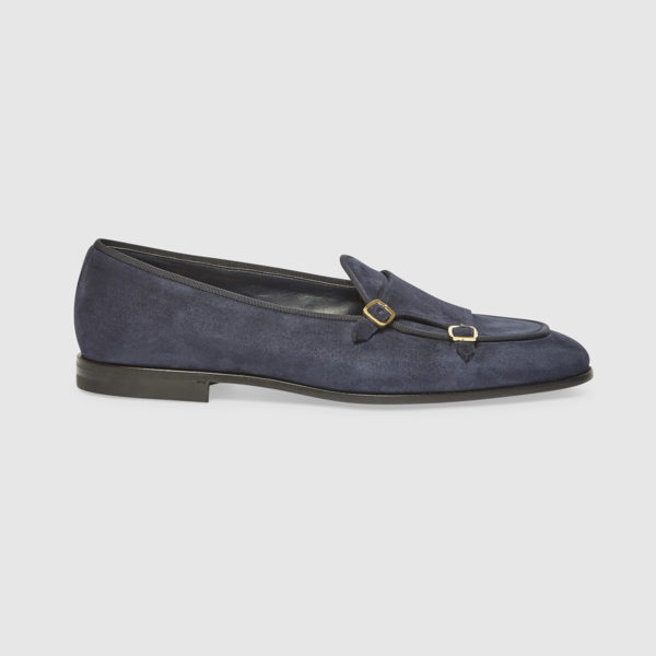 Double Monk Shoes in Denim Color Calf Leather