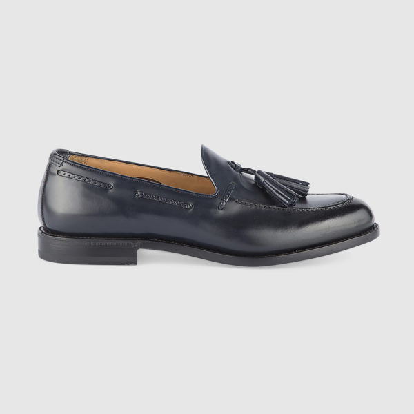 Loafers with Tassels in Blue Calfskin