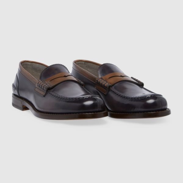 Loafers in Plum Calf Leather
