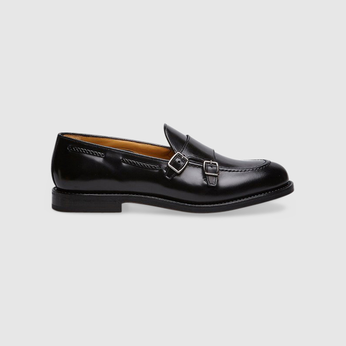 Double Monk in Black Calfskin Leather