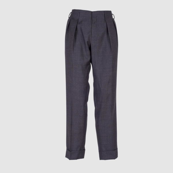 Two Pleats Dark Grey Wool Trousers